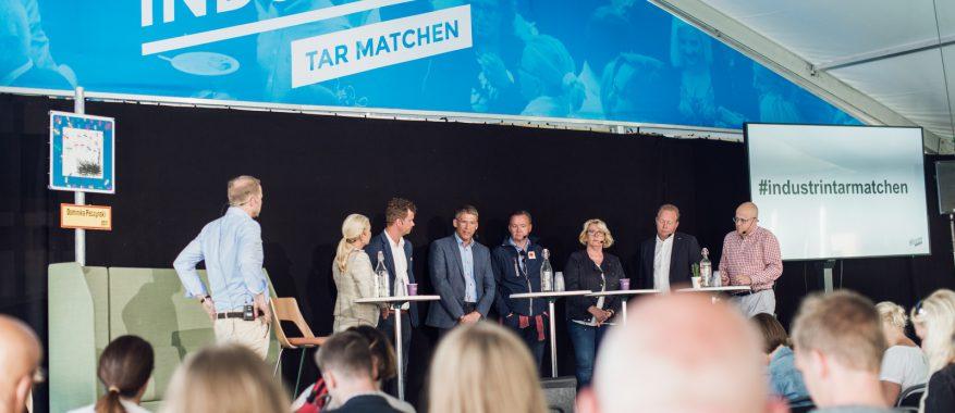 Jan Moström, LKAB och Mikael Staffas, Boliden frågas ut av infrastrukturminister Anna Johansson (S).